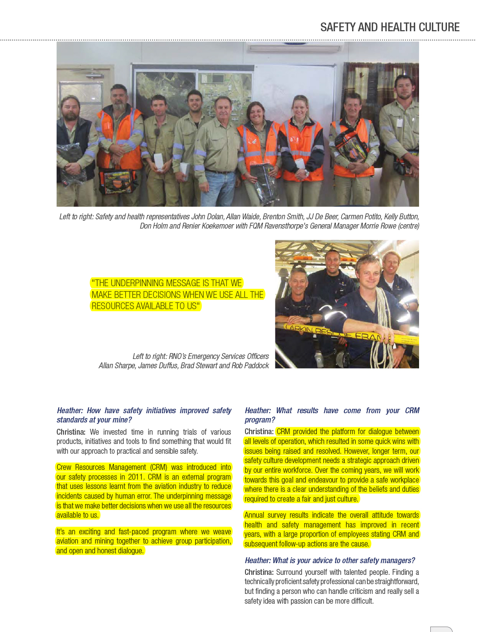 Resources Safety Matters Volume 2 No. 2 May 2014